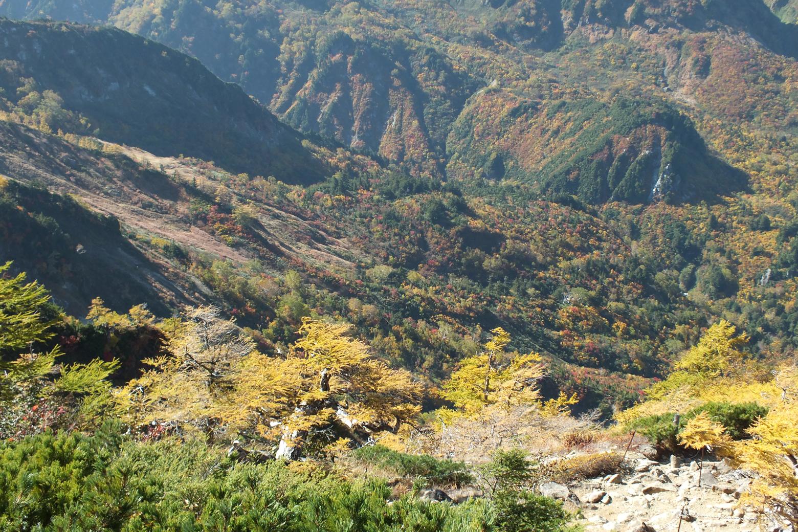 遠くに見える鉱山道