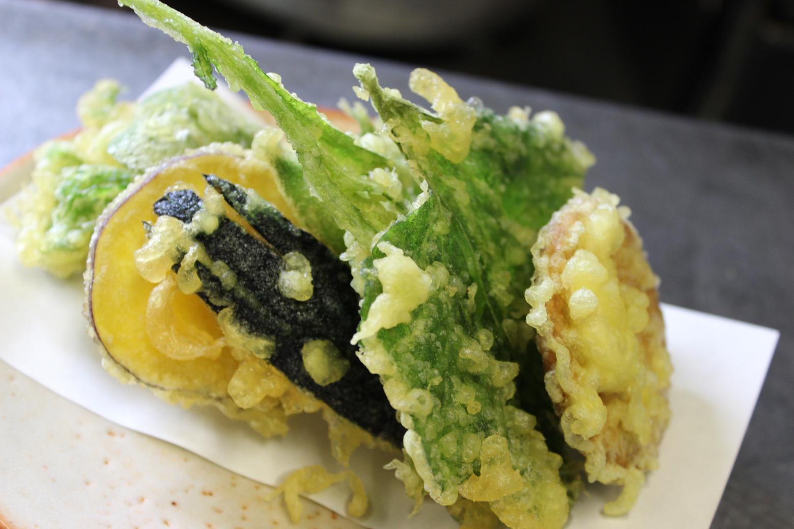 珍しい具材が入った野菜天ぷら
