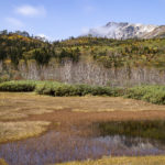 池と白馬岳の景観が美しい